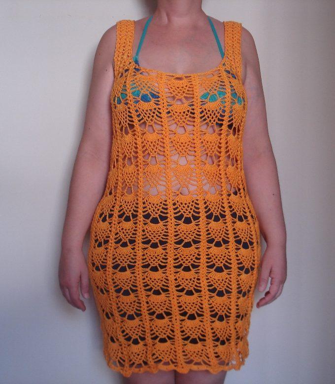 06501aacb Cor e Arte | Saída de praia vestido abacaxi em crochê 2